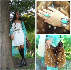 Brandy Runaé - Aldo Leather Boots, Child Of Ethereal Light Vintage Turquoise Beaded Kimono - Lady of Shalott