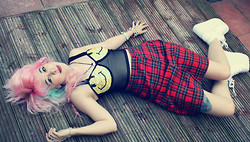 Sarah Miller - Unif Smiley Face Bralet, Vintage Tartan Skirt, Yru Shoes - He'd grown tired of the tragedies