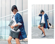 Mc kenneth Licon - Vintage Leather Hat, American Apparel Coat, Nike Shoes, Viti Leather Shorts - NYFW Day 2