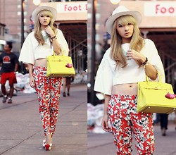 Anastasia Siantar - Cropped Top, Forever 21 Floral Pants, Kandee Cherry Twist, Hermës Birkin Bag - NYFW Day 4