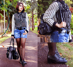 Cy Rasella - Mells' Shirt, Diy Scarf, Ivy Jeans Denim Shorts, Alexander Shoes - When stripes meet polkadot