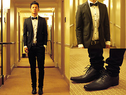 David Guison - Onesimus Leather Shoes, Onesimus White Button Down, Onesimus Bow Tie, Onesimus Belt, Onesimus Slacks - Tailored to Fit