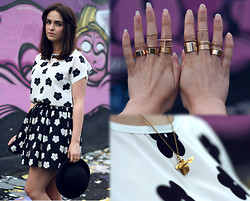 Rachael Dobbins ♡ - Persun Black & White Daisy Tee, Hearts And Bows Daisy Skater Skirt, Romwe Gold Rings, River Island Cross Ring, Alex Monroe Bee Necklace - Like a bee to daisies