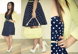 Faith Rodriguez - Asos Polka Dot Skater Dress, New Look White Court Shoes, United Colors Of Benetton Yellow Flap Handbag, Splash Yellow Cropped Blazer - Dots The Way I Like It