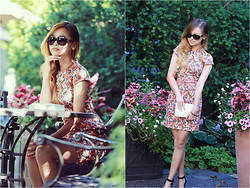 Lina Dinh - Zara Print Dress, Chanel Purse, Louis Vuitton Oversize Soupcon Sunnies - Detonate you with my flower bomb