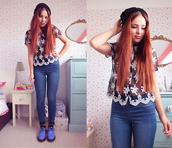 Amelia Breading - Thrifted Embroidery Shirt, Matalan Blue Jeans, Dr. Martens Dusty Blue Docs, Asos Knit Hat - EMBROIDERY