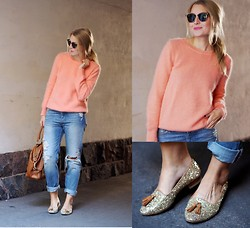 Jenni R. - Massimo Dutti Jumper, H&M Boyfriend Jeans, Massimo Dutti Glitter Shoes, Massimo Dutti Leather Bag, Ray Ban Clubmaster Sunglasses, Diego Dalla Palma Pink Lipstick - Imaginary boyfriend jeans