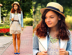 Kasia In blue jeans - Sheinside Dress - White lace dress