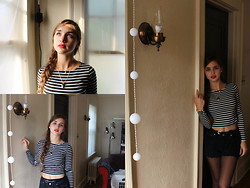 Alisa Pasichnik - River Island Striped Crop Top, Diy Black Shorts, Thrifted Necklace - French