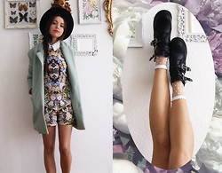 Diana K - Wholesale7 Boots, Wholesale7 Minty Coat, Zara Playsuit (Old) - FLOWERBOMB!