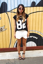 Sarah S. - Bauble Bar Chain Link Necklace, Forever 21 '82' T Shirt, No Brand Skort, Glaze Gradient Heels - That Skort...
