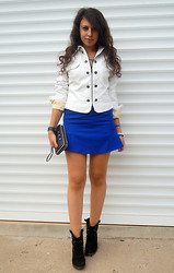 Marina Petrova - Local Shop White Leather Jacket, Choies Blue Skirt, Humanic Ankle Boots, Local Shop Wallet - Blue moon