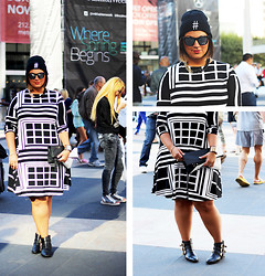 Jaclynn Brennan - Asos Geometric Printed Dress, Asos Hashtag Beanie, For Every Bella Two Toned Chain, Forever 21 Booties, Jimmy Swagg Relfective Sunnies - Black & White #Geometrics