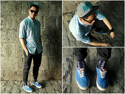 Christian Reasonda - Forever 21 Blue Button Down, Lee X Line Black Jeans, Nike Snapback, Old Navy Sneakers - Day 12: Don't You Worry Child