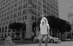 Via L. A - Target Men's Striped Tee, H&M Denim Shorts - Weekend Mornings Downtown