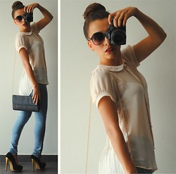 Wendy MARTÍNEZ - Fashionline.Com.Mx Pleated Top, Fashionline.Com.Mx Skinny Jeans - I hate to see you go... <3