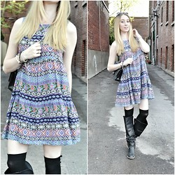 Jessica C. - Asos Dress, Chanel Bag, The Frye Company Boots - Print