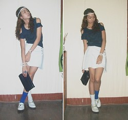 Rae Abigael Caacbay - Diy Open Shoulder Top, Diy Skirt, Puma Blue Football Socks, White Socks From Japan, J.Jill Shoes - Consciously Oblivious
