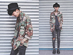 IVAN Chang - New York Hat Black, Vintage Army Shirt, Topman Black Top, Topshop Blavk Skinny, All Saints Oxford Shoes - 130913 TODAY STYLE