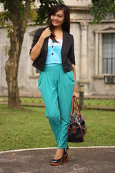 Danica Salazar - Parklane Top, Thrifted Trousers - Classy in blue
