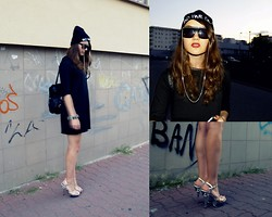 Zuzanna Niedzielska - H&M Black Dress, C&A Black Leather Backpack, Spiked Bracelet, Local Heroes Beanie, H&M Sunnies, Glass Stripper Heels - Modern x fresh