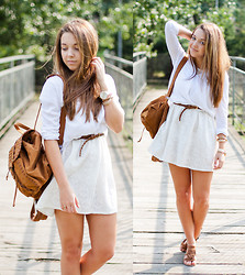 Gabriela Grębska - Vj Style Dress, Sheinside Shirt, Chic Wish Backpack, Wholesale7 Shoes, Lorus Watch - White lace dress