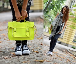 Simona Slavova - Primark Top With Crosses, Re Served Pants, Converse Sneakers, Notting Hill Market Bag, Bikbok Scarf - Fluorescent Adolescent