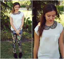 Chloe & Amy - Vintage Collar, Joie Blouse, Blanknyc Pin Cushion Pants, Topshop Booties - Flowers, Leather, and Sparkle