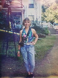 Coco Rosenberg - Nasty Gal Floral Bathing Suit, High Waisted Jeans, Urban Outfitters Studded Creepers - First Day of Classes