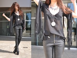 Cindy Teng - Love South Fork Top, Unif Axl Pants, Unif Das Boot, Child Of Wild Collar, Hunter Necklace - For Love of Black