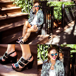 Charlotte Bridgeman - Country Road Jacket, Country Road Shorts, Wittner Heels, Le Specs Sunnies - Bleecker Street