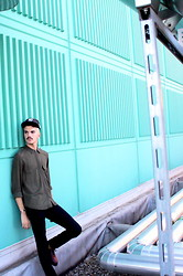 Simone Munari - New Era Cap, Zara Shirt, Cheap Monday Pants, Dr. Martens Shoes - On the roof