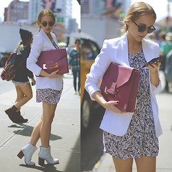 TIPHAINE MARIE - Selected Femme Dress, Sophie Hulme Clutch, Miista Booties, Ray Ban Sunnies - NYFW DAY 4