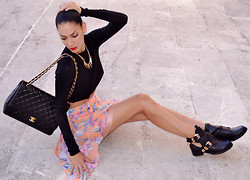 Konstantina Tzagaraki - Skirt, Booties, Necklace, Chanel Bag - I have lost my smile,but don't worry,the dandelion has it..