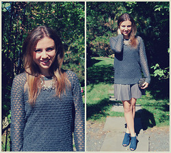 Chloe & Amy - Frenchi Sweater, Hinge Peplum Leather Skirt, Louise Et Cie Booties, Aqua Statement Necklace - Shades of Grey