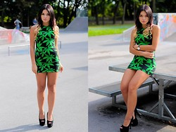 Amazing Fashioon - Dress - Green & black dress