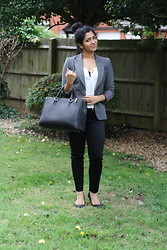S Z - Zara Grey Blazer, H&M White Blouse, H&M Cigarette Pants, Zara Office City Bag, Zara Kitten Pumps - Smart Class