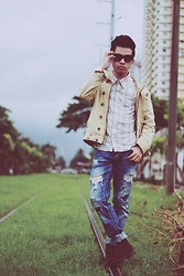 Evelio Barion - Urbanwhere Polo Shirt, Enter Jeans Jacket, Hydraulic Tattered Jeans, Blackstone Leather Shoes - Stormy Clouds