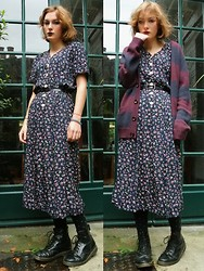 Annie Honey Mac - Vintage Maxi Dress, Tights, Dr. Martens Boots, Topman Cardigan - Purple Haze