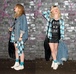 Sarah H. - Vintage Denim Jacket, Topshop Arson Boots, Evil Twin We Are Tank, Levi's® Plaid Shirt, Minkpink Fringed Bag, Oasis Pleather Skirt - EVIL WE ARE