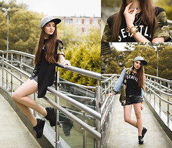 Style on Camera _ - Sheinside Vest, Wepeaceit Apparel Cap, Loveclothing Jacket, Sheinside Tee, Vintageshop.Pl Necklace, Pull & Bear Shorts, Cheap Monday Shoes - Virus