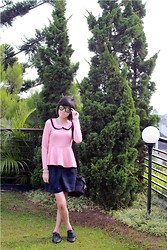 Yunita Yapi - Pink Peplum Top, Forever 21 Studded Bracelet, New Look Black Oxford Shoes - Something Good