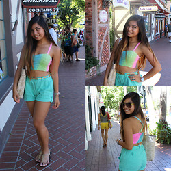 Ron Barba - Forever 21 Candied Ombre Bustier, Gap Loose Shorts, Coach Gold Traveller's Bag, American Eagle Gold Rubber Sandals, Forever 21 Neon Green Aviators, Fossil Gold And Diamonds - Paint Me Ombre