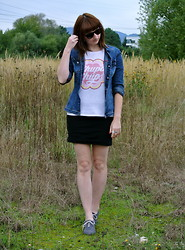 Maja R. - Lacoste Sunnies, Miss Sixty Denim Jacket, Pimkie T Shirt, H&M Skirt - With Hairspray and Denim