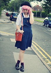 Sarah Miller - Topshop Denim Pinafore Dress, Topshop White Polo Shirt, Juju Jelly Shoes, River Island Bowler Hat, Urban Outfitters Bag - He told me I was so small, I told him water me