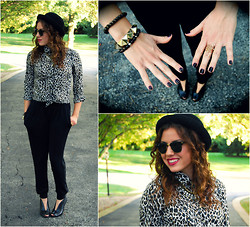 Chloe & Amy - Topshop Bowler Hat, J. Crew Leopard Button Up, Wayf Slouchy Pants, Ray Ban Wayfarers, Halogen Cut Out Booties - Leopard gone casual
