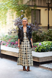 Isabelle Hawi - Caroline Blomst Leather Jacket, Vintage Dress, Zara Heels - Style With Isabelle - Chic Gala