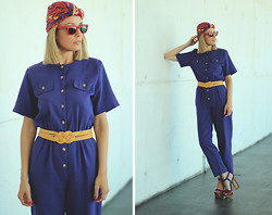 My Showroom Priscila - Ebay Jumpsuit, Ray Ban Sunnies, H&M Turbant, Jessica Simpson Shoes, Ebay Belt - Vintage Jumpsuit