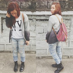 "Maria Inah Requerme - Awesomefindsss Ny Top, Tnc Manila Ombre Cardigan, Forever 21 Aztec Distressed Pants, Extraordinaryshop Black Oxford Boots, Trunkshow Tribal Bag - 1st day of ""School"" all over again"