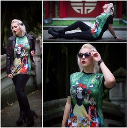 Alice Duporge - Romwe Snow White Kitty Print T Shirt, Jeffrey Campbell Lita Black, Romwe Dual Shape Legging - Snow white Kitties